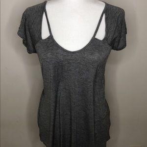 Slight chest slit Grey blouse